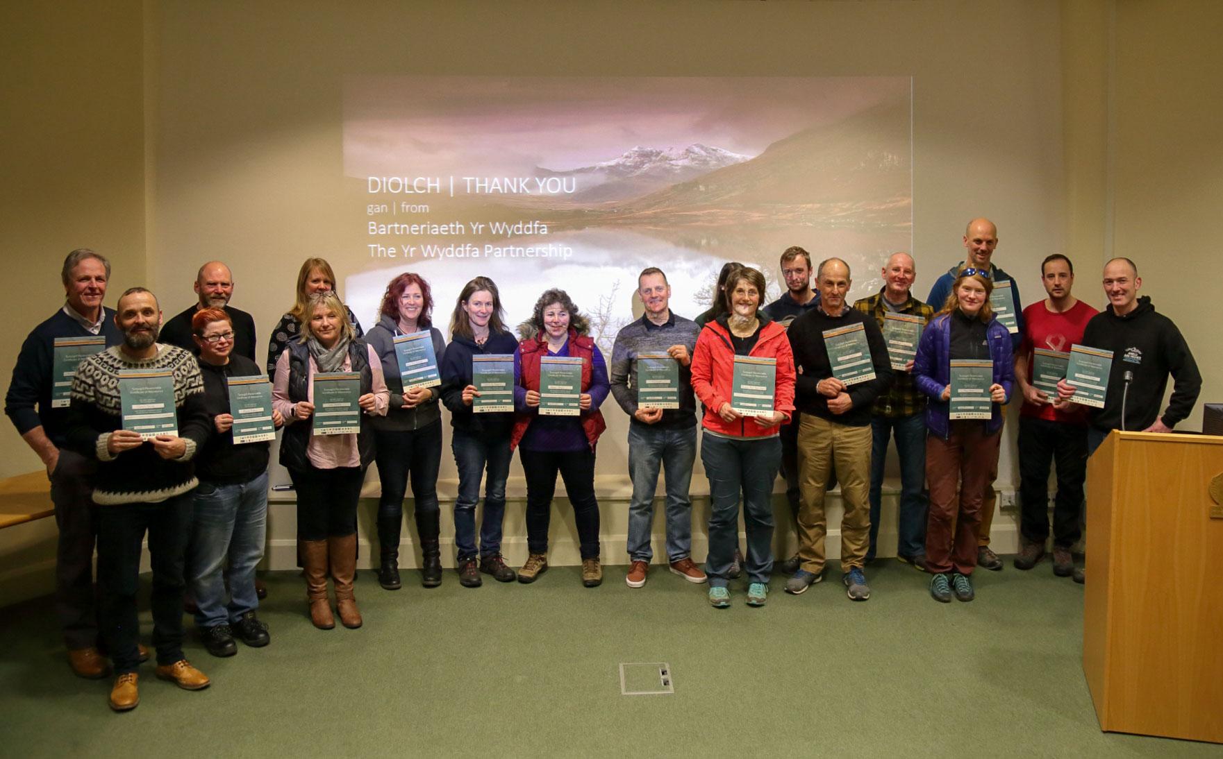 Snowdonia Ambassadors with certificates