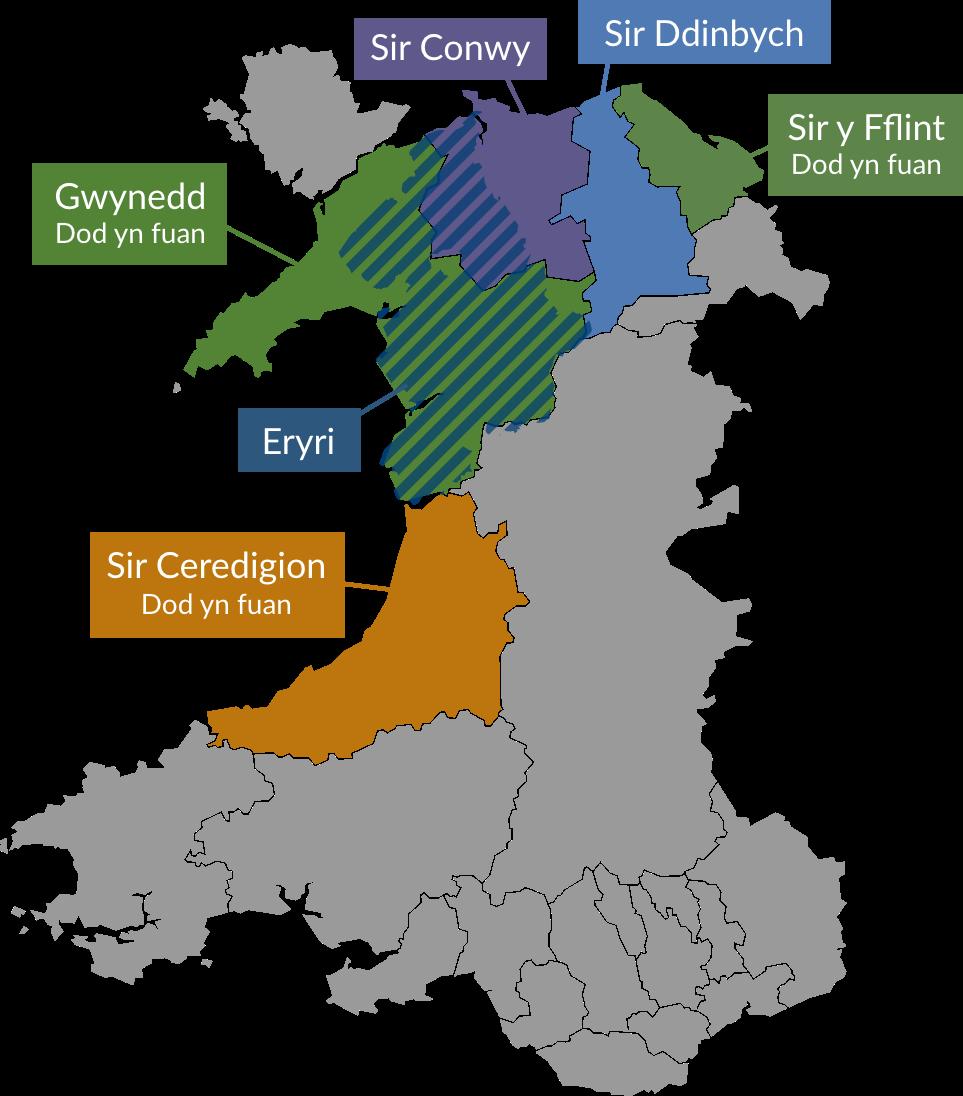 Map cyrsiau Llysgennad Cymru